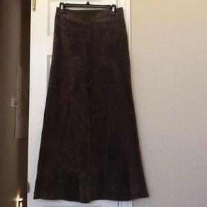bebe brown leather suede long skirt